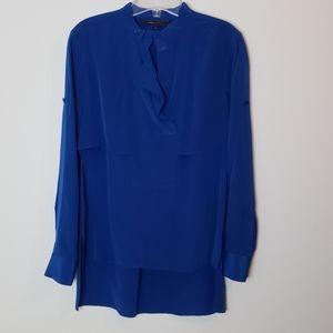 BCBG Maxazria blue iris silk blouse